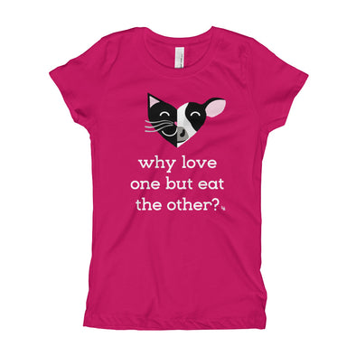 """Why Love One but Eat the Other? - Cat & Cow"" Vegan Girl's T-Shirt"