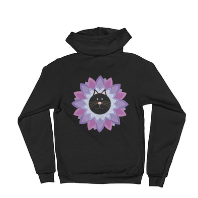 """Purrrple Flower"" Unisex Zip Up Cat Hoodie"