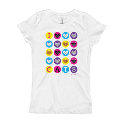 """I 💜 Love 💜 Cats"" Girl's T-Shirt"
