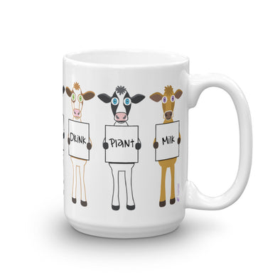 """Drink Plant Milk"" Large Vegan Cow Coffee Mug"
