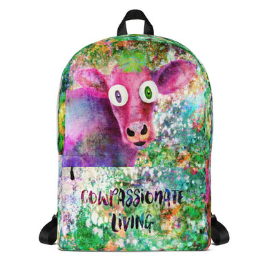 """Cowpassionate Living - Pink Cow Vintage Pop"" Backpack"