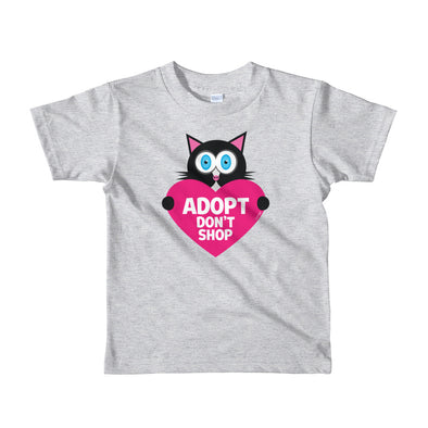 """Adopt, Don't Shop."" (cat with heart) Little Kids T-Shirt"