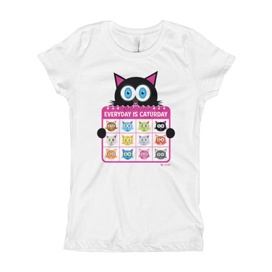 """Everyday is Caturday"" Girl's Cat T-Shirt"
