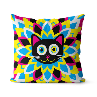 """CMYKitty"" Purrrfect Flower Cat Premium Throw Pillow Cover"