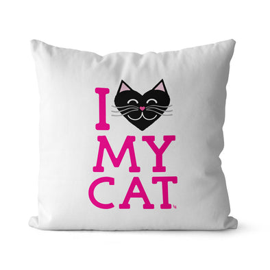 """I Love My Cat"" Premium Throw Pillow Cover"