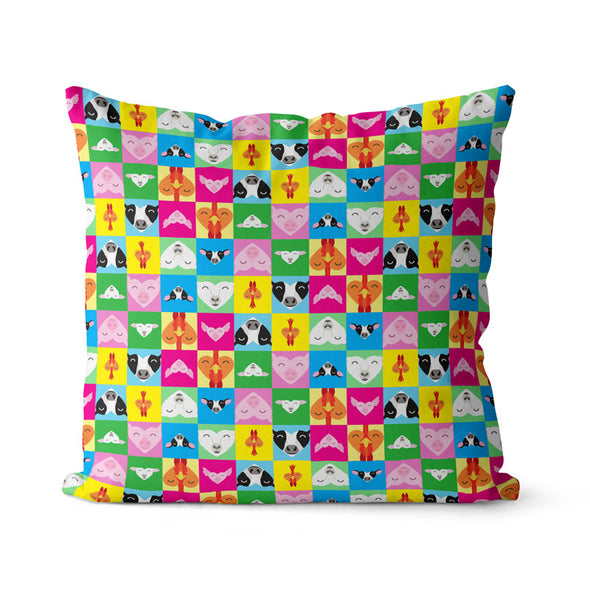 """Love All Animals"" Premium Vegan Throw Pillow Cover"