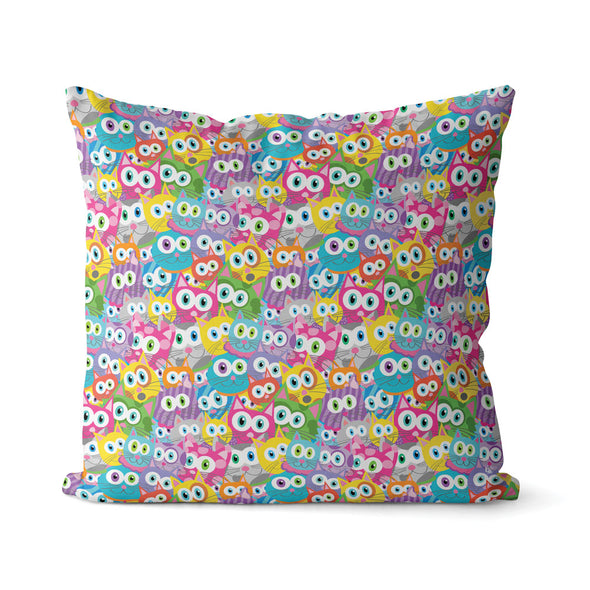 """Purrrballs"" Whimsical Colorful Cat Premium Throw Pillow Cover"