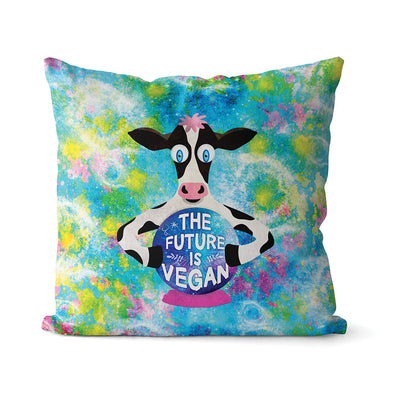 """The Future is Vegan"" Cow with Crystal Ball Premium Throw Pillow Cover"