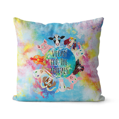"""Vegan for the Animals"" Premium Throw Pillow Cover"
