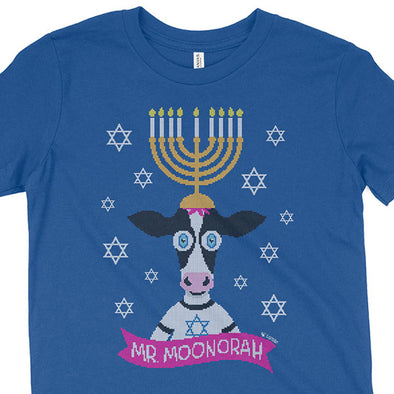 """Mr. Moonorah"" Hanukkah Cow Kids Kids Youth T-Shirt"