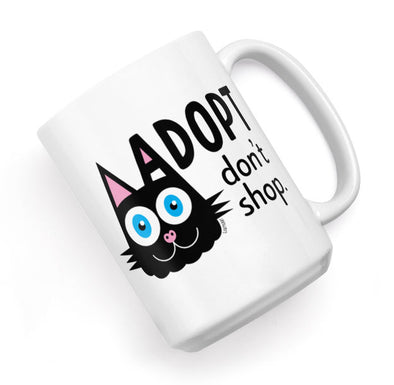 """Adopt, Don't Shop."" (cat ear) Large Coffee Mug"