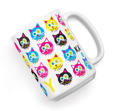 """CMYKat"" Pattern Large Cat Coffee Mug"