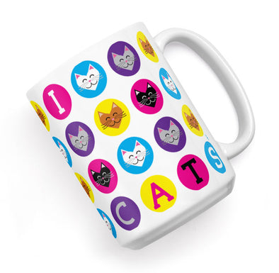 """I 💜 Love 💜 Cats"" Large Coffee Mug"