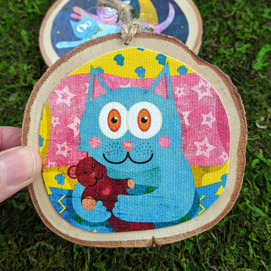 Whimsical Wood Cat Ornaments - Funky Cats, Kitty Holiday Ornaments