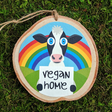 """Vegan Home""  Whimsical Animals Wood Ornaments, Cow, Pig, Chicken, Goat, Sheep Holiday Ornaments"