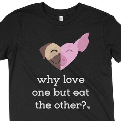 """Why Love One but Eat the Other? - Pug & Pig"" Vegan Kids Youth T-Shirt"