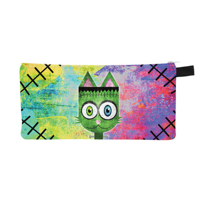 """Frankenkitty"" Small Zipper Pouch - Frankenstein Monster Cat Pencil Case - Makeup Bag"