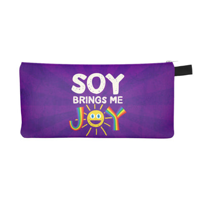 """Soy Brings Me Joy"" Small Zipper Pouch - Pencil Case - Vegan Makeup Bag"