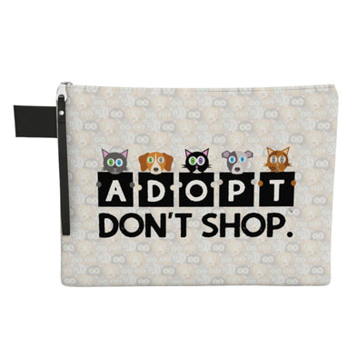 """Adopt, Don't Shop."" Large Zipper Pouch - Vegan Cat and Dog Clutch"