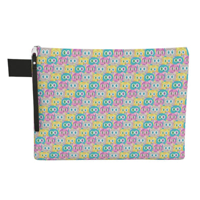 """Candy Cats"" Large Zipper Pouch - Vegan Clutch"