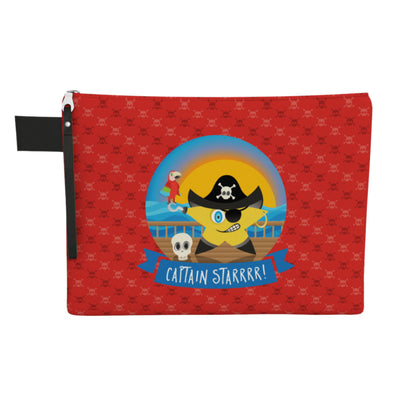 """Captain Starrr!"" Large Zipper Pouch - Vegan Pirate Clutch"
