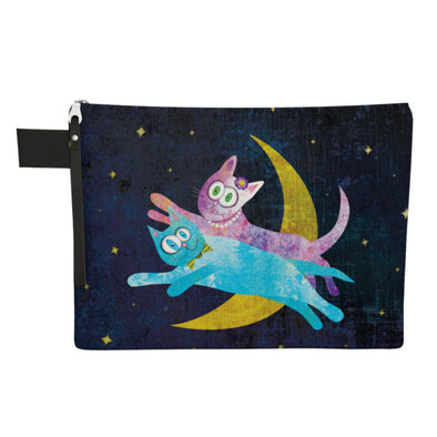 """Cat Lovers Over The Moon"" Large Zipper Pouch - Vegan Clutch"