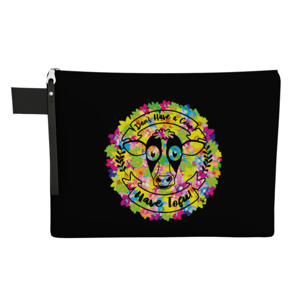 """Don't Have a Cow, Have Tofu!"" (flowers) Large Zipper Pouch - Vegan Clutch"