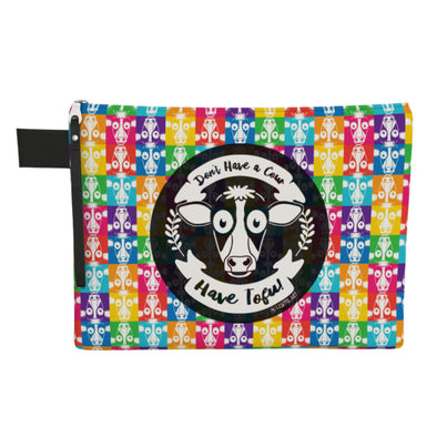 """Don't Have a Cow, Have Tofu!"" (multi-color checker print) Large Zipper Pouch - Vegan Clutch"