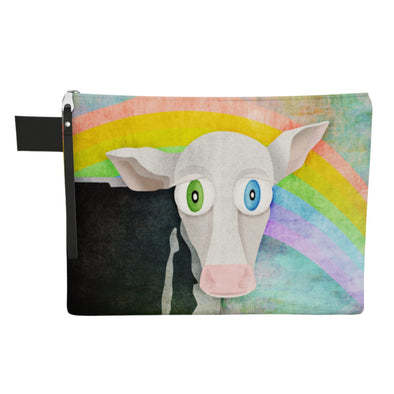 """Cowpassionate Living - The Cow Who Freed Himself"" Large Zipper Pouch - Vegan Clutch"