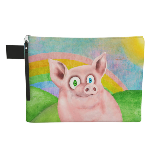"""Happy Pig"" Large Zipper Pouch - Vegan Clutch"
