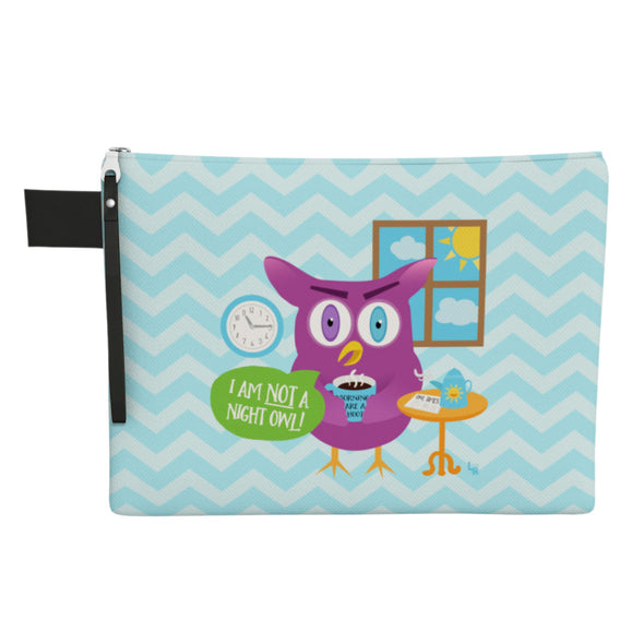 """Not a Night Owl"" Large Zipper Pouch - Vegan Clutch"
