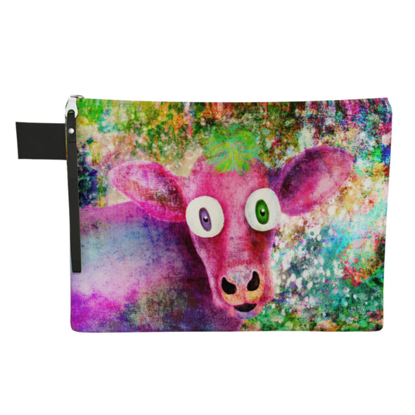 """Cowpassionate Living - Pink Cow Vintage Pop"" Large Zipper Pouch - Vegan Clutch"