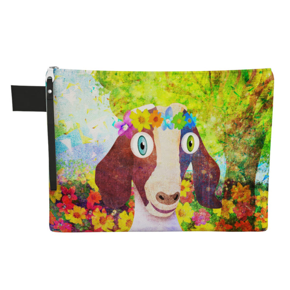 """Sweet Goat with Flower Crown Portrait"" Large Zipper Pouch - Vegan Clutch"