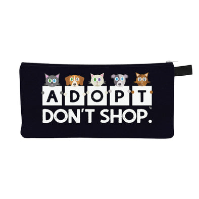 """Adopt, Don't Shop."" Small Zipper Pouch - Cat and Dog Pencil Case - Makeup Bag"