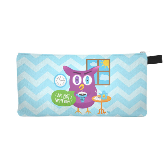 """Not a Night Owl"" Small Zipper Pouch - Pencil Case - Makeup Bag"