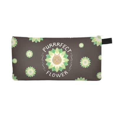 """Purrrfect Flower"" Small Zipper Pouch - Cat Pencil Case - Makeup Bag"