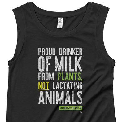 """Proud Plant Milk Drinker"" Cap Sleeve Vegan Shirt"