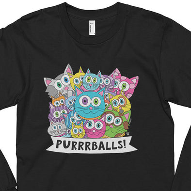 """Purrrballs!"" Unisex Long Sleeve Cartoon Cat T-Shirt"