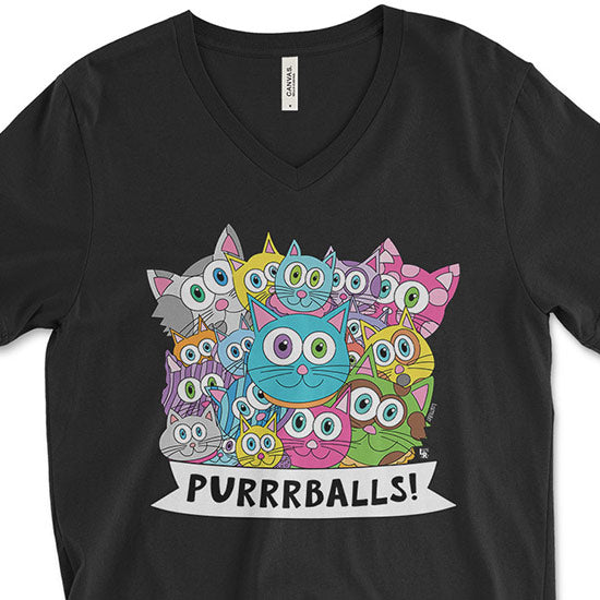 """Purrrballs!"" Unisex V-Neck Cat T-Shirt"