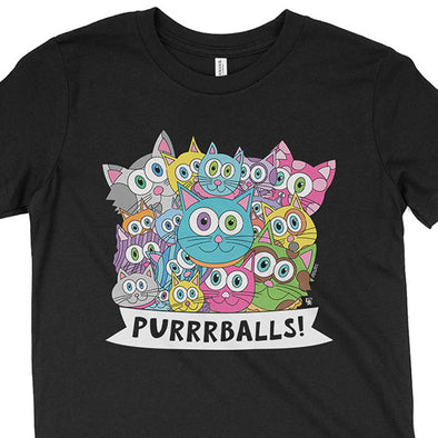"""Purrrballs!"" Kids Youth Cat T-Shirt"