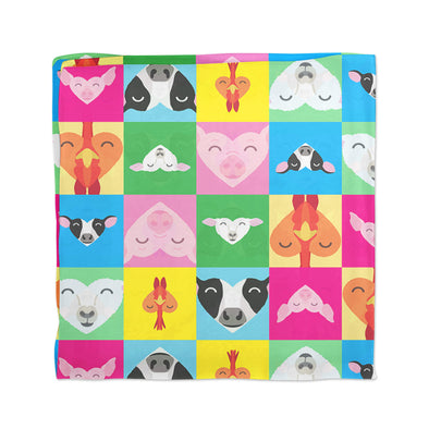 """Love All Animals"" Cow, Pig, Chicken, Lamb Vegan Scarf"