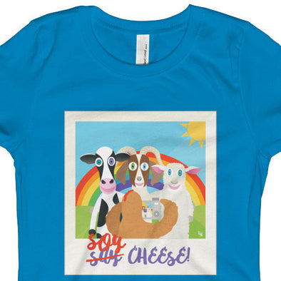 """Soy Cheese"" Girls Fitted Vegan T-Shirt"