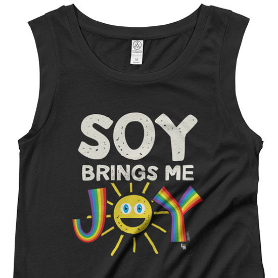 """Soy Brings Me Joy"" Cap Sleeve Vegan Shirt"