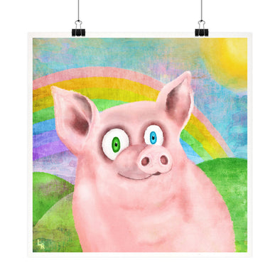 """Happy Pig"" Vegan Fine Art Print"