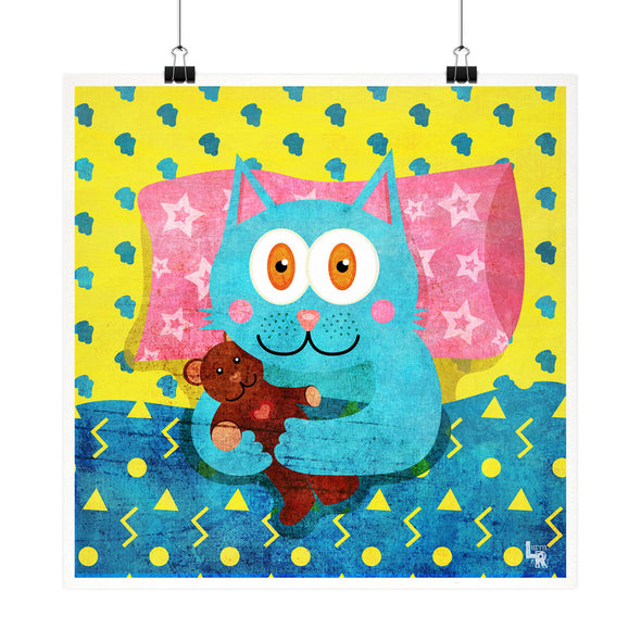 """I Love My Teddy"" Whimsical Cat Fine Art Print"