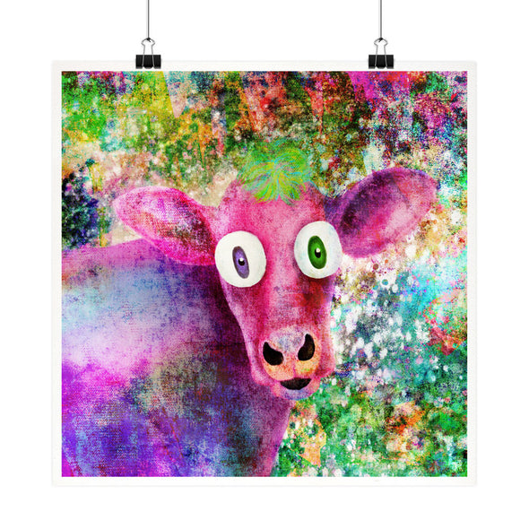 """Pink Cow Vintage Pop"" Vegan Fine Art Print"