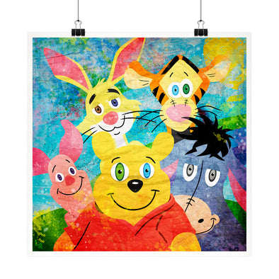 """Pooh and Friends"" Whimsical Fine Art Print"