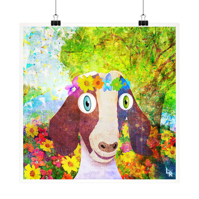 """Sweet Goat with Flower Crown Portrait"" Whimsical Fine Art Print"