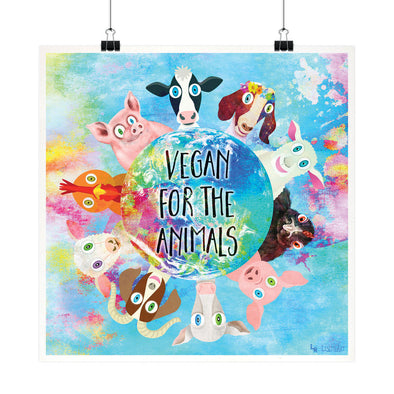 """Vegan for the Animals"" Whimsical Fine Art Print"