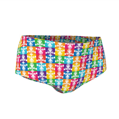 """Don't Have a Cow, Have Tofu!"" (multi-color checker print) Swim & Workout Mini Shorts"